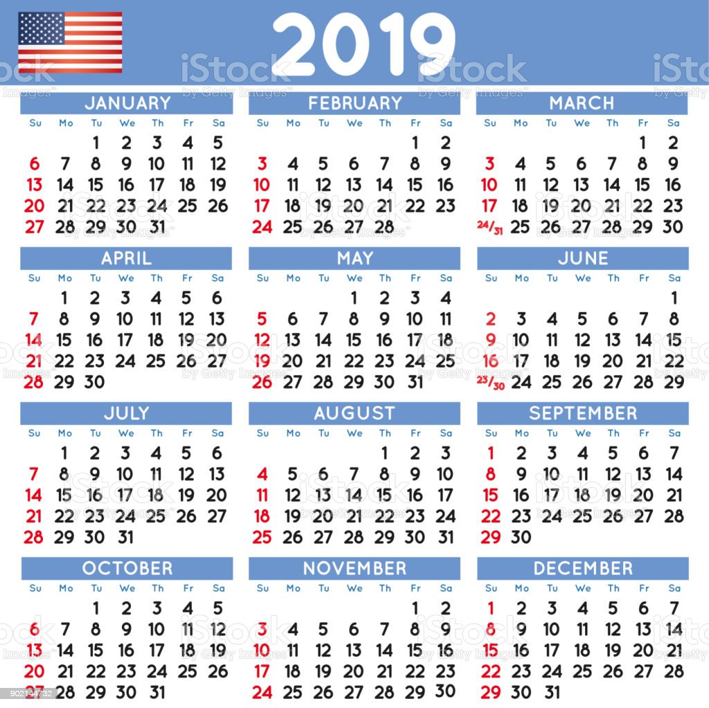 2019 Squared Calendar English Usa Stock Vector Art More Images Of