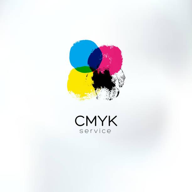 illustrazioni stock, clip art, cartoni animati e icone di tendenza di cmyk squared circlea concetto di disegno logo - cmyk