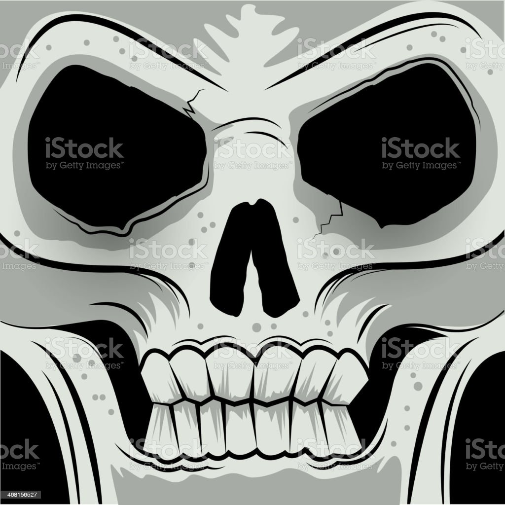 Squared Faced Angry Skull royalty-free stock vector art