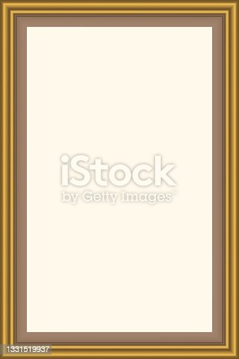 istock Squared golden vintage wooden frame for your design. Vintage cover. Place for text. Vintage antique gold beautiful rectangular frames  for paintings or photographs. Template vector illustration 1331519937