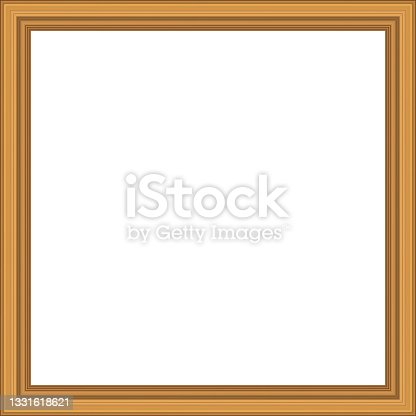 istock Squared golden vintage wooden frame for your design. Vintage cover. Copy space. Vintage antique gold beautiful rectangular frames  for paintings or photographs. Template vector illustration 1331618621