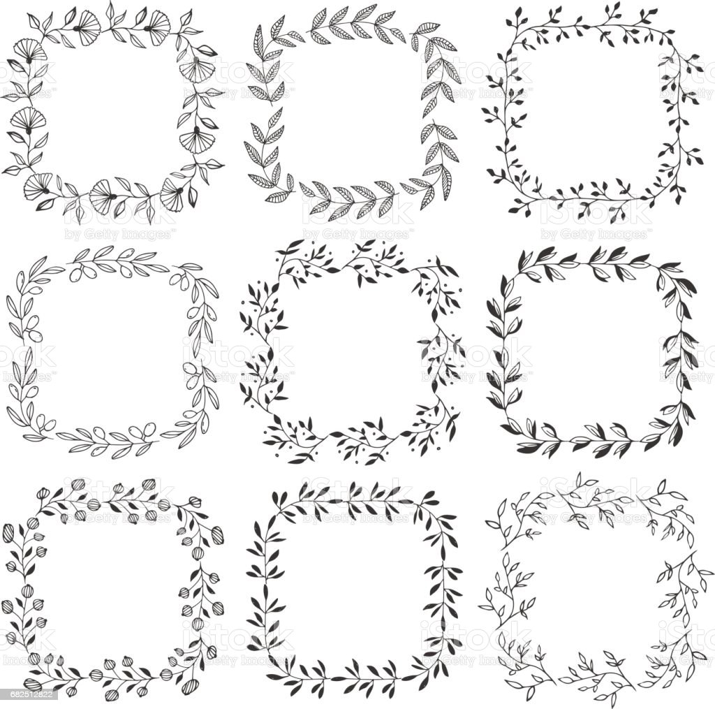 Quadratische pflanzliche Rahmen. Schwarzen Vektor-Illustration. Lizenzfreies quadratische pflanzliche rahmen schwarzen vektorillustration stock vektor art und mehr bilder von altertümlich