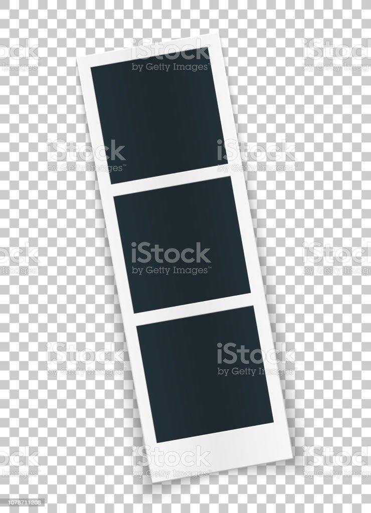 Quadratischen Foto Vorlage in Reihe gedreht, isolierten auf transparenten Hintergrund. Sofortbild-Trame für soziales Netz, Dokumente, Spaß. Editierbare Vektorgrafik. - Lizenzfrei Abstrakt Vektorgrafik