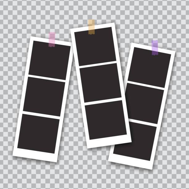 ilustrações, clipart, desenhos animados e ícones de molde esquadrado da foto isolado no fundo transparente. frame instantâneo da foto para a rede social, originais, divertimento. ilustração do vetor - polaroid