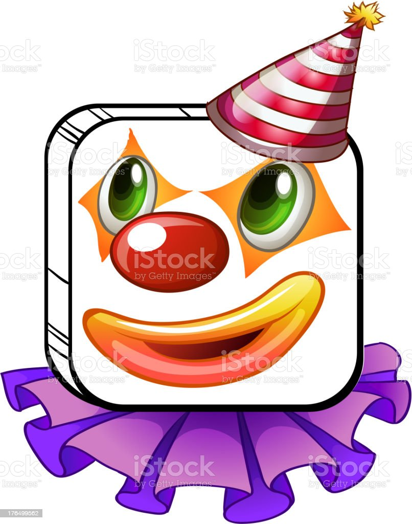 Square-faced clown with a party hat royalty-free squarefaced clown with a party hat stock vector art & more images of artist