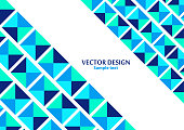 Squares from triangles in blue tones. Modern geometric abstract template. Empty place for text. Vector illustration.