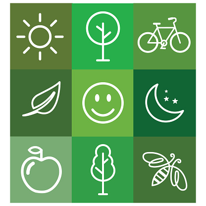 Squares in shades of green with a bicycle, a leaf, a bee, a tree, the sun, the moon, a smiling face, an apple. To save our planet, to live healthy.