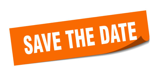 squaresticker09lorange - save the date stock-grafiken, -clipart, -cartoons und -symbole