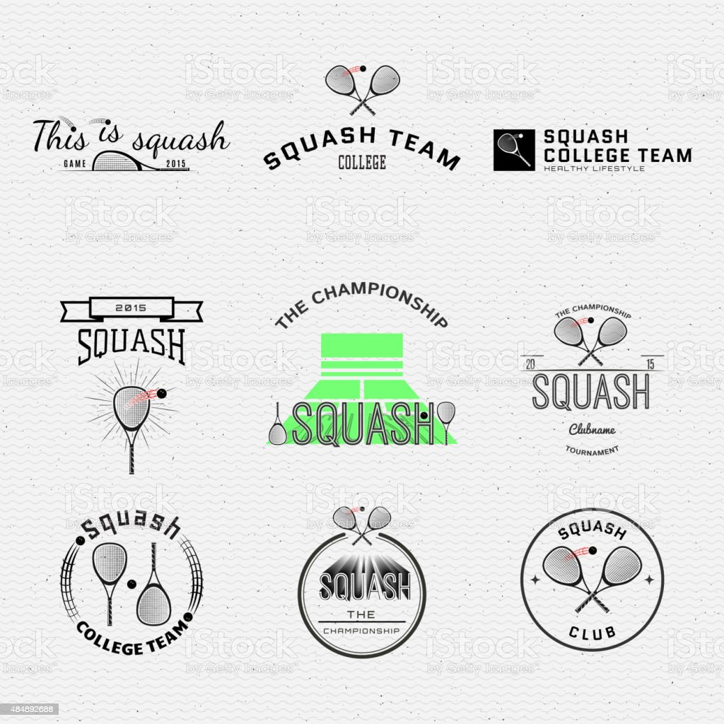Squash badges logos and labels for any use vector art illustration