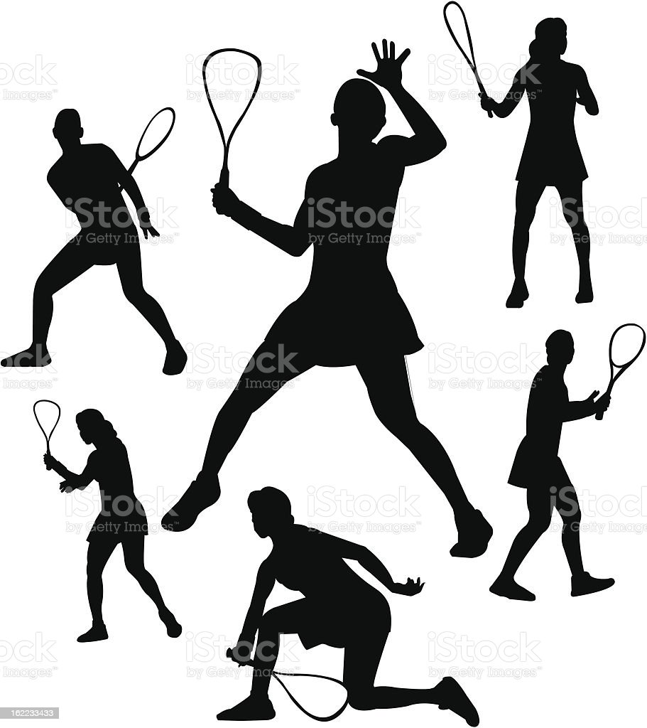Squash player silhouettes royalty-free stock vector art