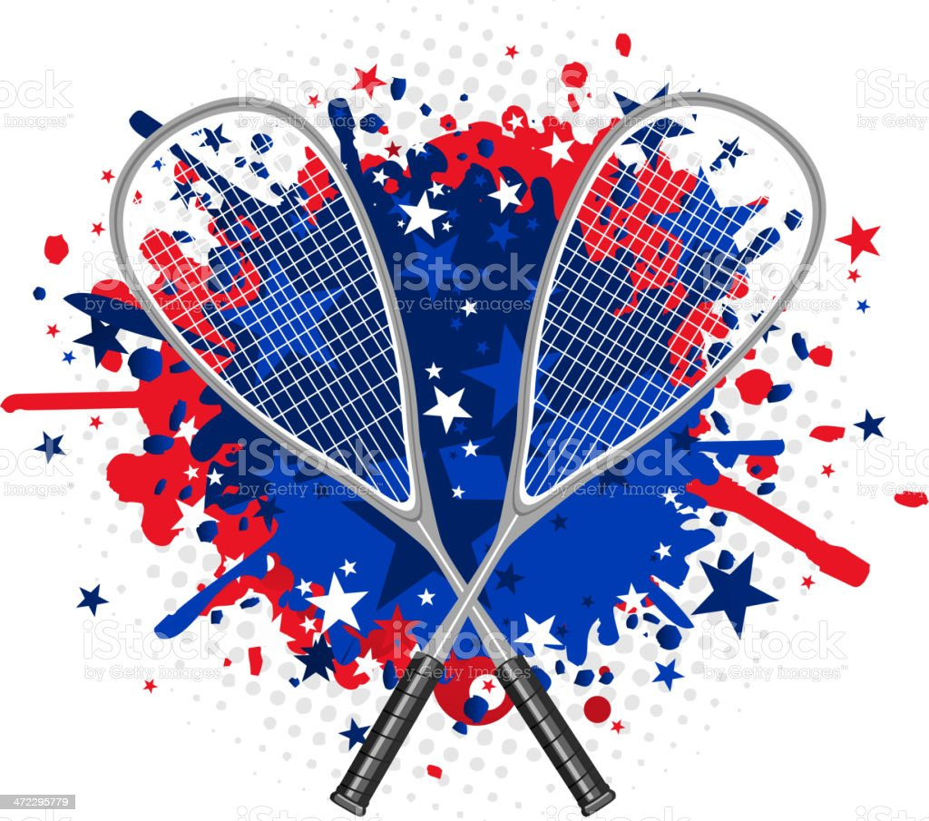 Squash Racket with red and blue splash royalty-free stock vector art