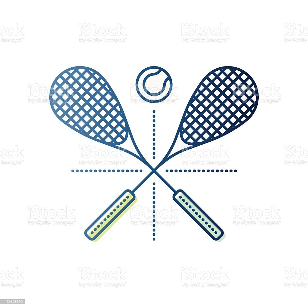 Squash Rackets and Ball vector art illustration