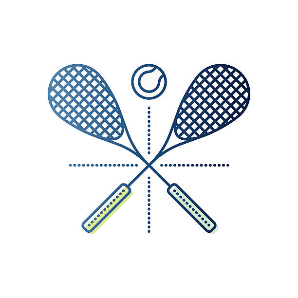 Squash Rackets and Ball Thin line icon squash rackets and ball symbol for squash play compositions. Modern style vector illustration concept. racket stock illustrations