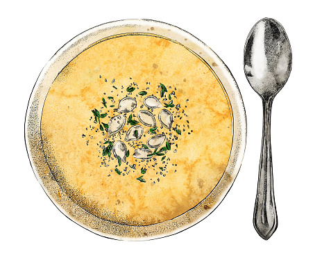 Squash Soup and Spoon Vector Watercolor and Ink Drawing