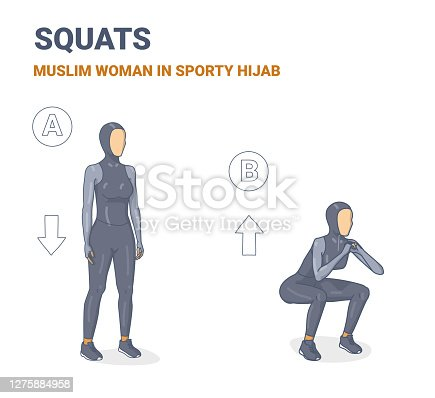 istock Squat Female Exercise Guide Silhouettes. Athletic Muslim Girl In Sporty Hijab Does the Weight Loss Workout 1275884958