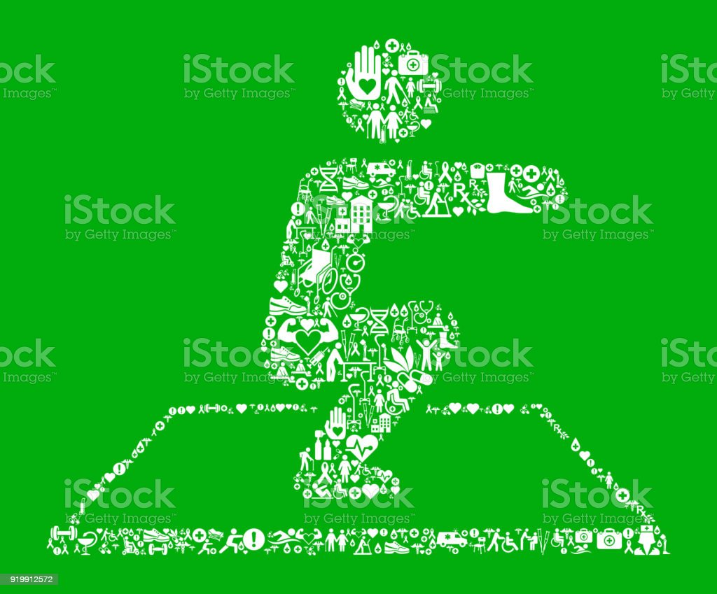 Squat  Green Medical Rehabilitation Physical Therapy vector art illustration