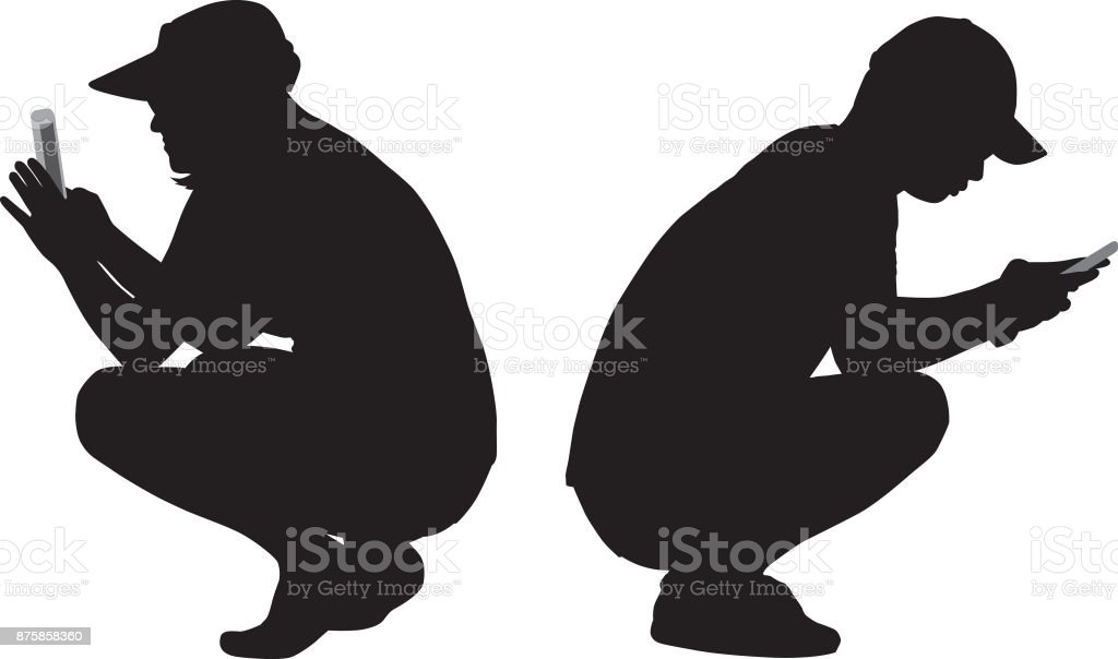 Squatting Couple Looking At Their Smart Phones vector art illustration