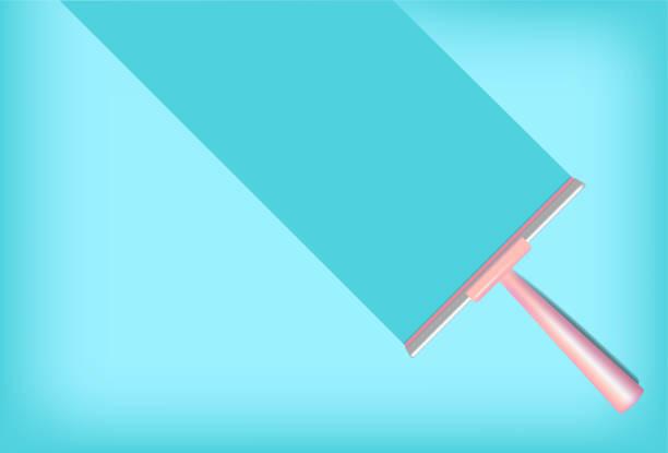 illustrations, cliparts, dessins animés et icônes de squeegee mock up realistic cleaning object. pour household wiper thing vector pastel fond coloré - raclette