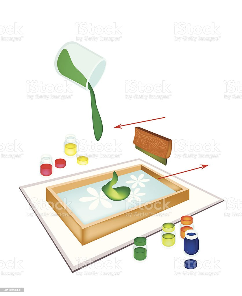 Squeegee Screen Printing on A Tile vector art illustration