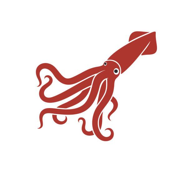 tintenfisch-logo. isolierter tintenfisch auf weißem hintergrund - kalamar stock-grafiken, -clipart, -cartoons und -symbole