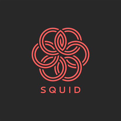 Squid logo or octopus monogram, overlay of weaving coral thin lines and round geometric shapes, emblem for seafood restaurant menu or fashion print for t-shirt.