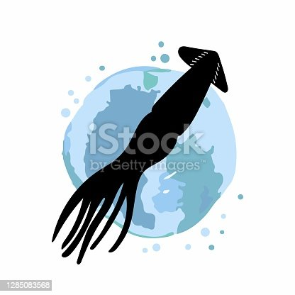 istock Squid logo. Promotional sea food sticker, website banner in blue and black colors, trendy watercolor abstract background and silhouette, discount product emblem, marketing badge vector poster 1285083568