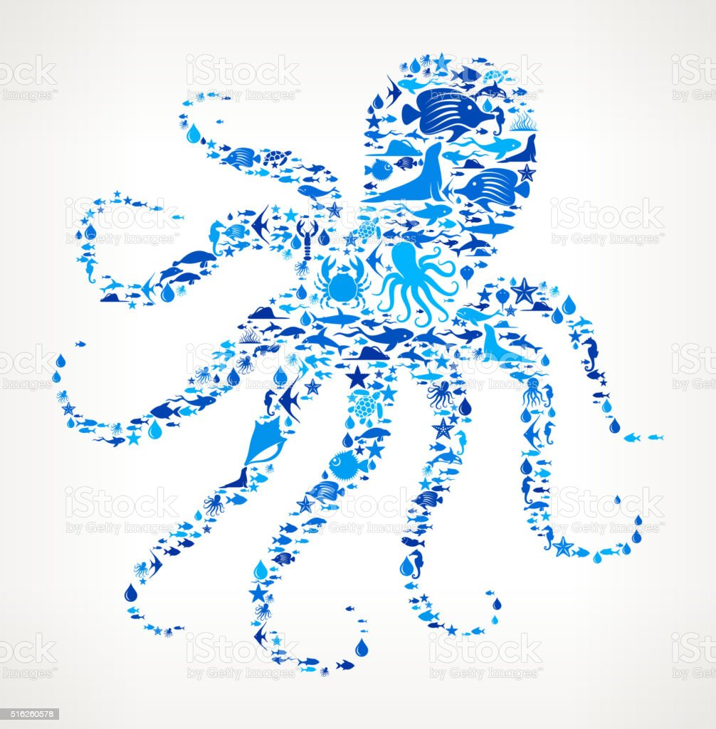 Squid Ocean and Marine Life Blue Icon Pattern vector art illustration