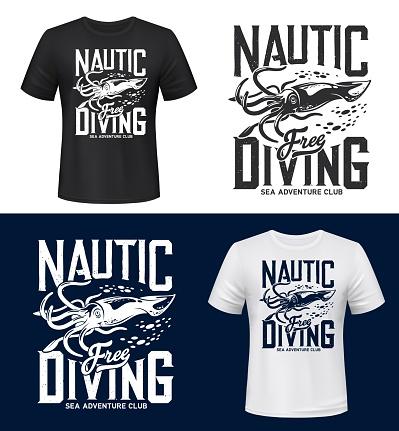 Squid print t-shirt mockup, sea, ocean diving club