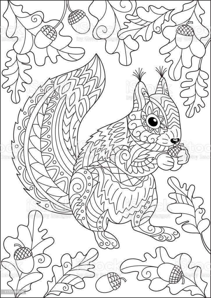 Kleurplaten Volwassenen Herfst.Eekhoorn En Herfst Eikenbladeren En Eikels Kleurplaten