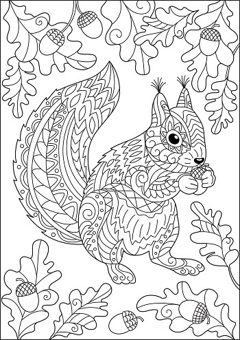 Squirrel and autumn oak leaves and acorns coloring page for adult and children