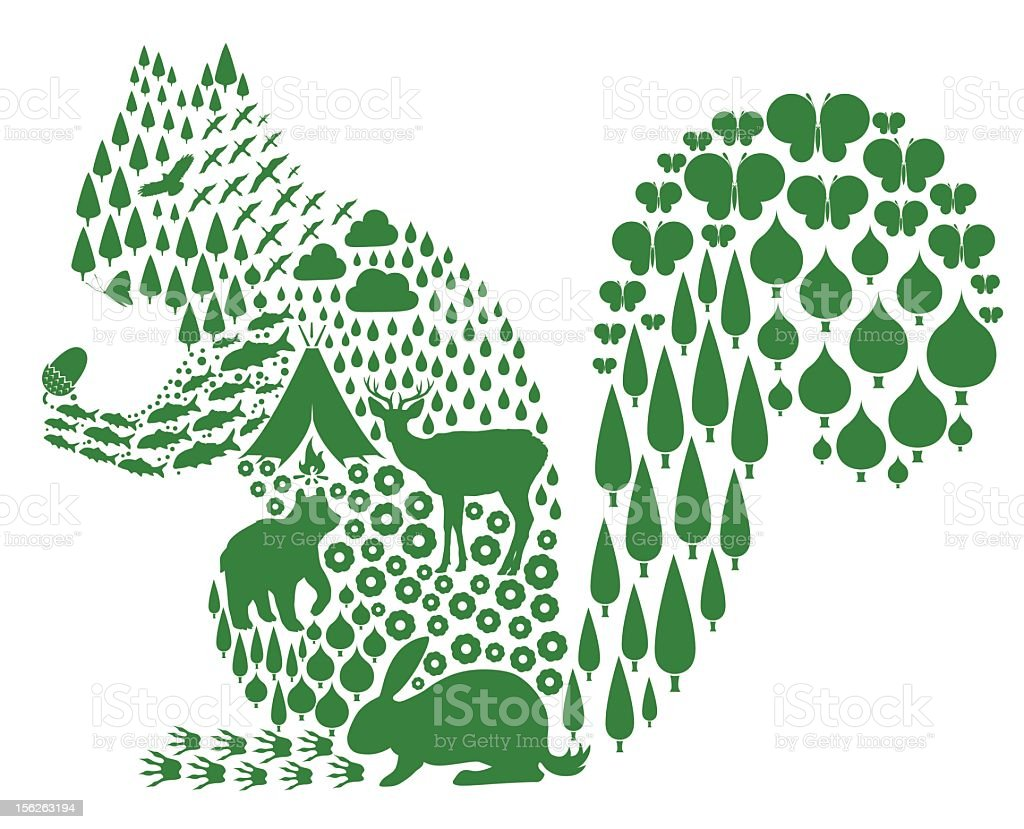 squirrel and spring vector art illustration