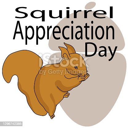 istock Squirrel Appreciation Day, Fluffy squirrel and themed inscription on the background of an acorn silhouette 1296742385
