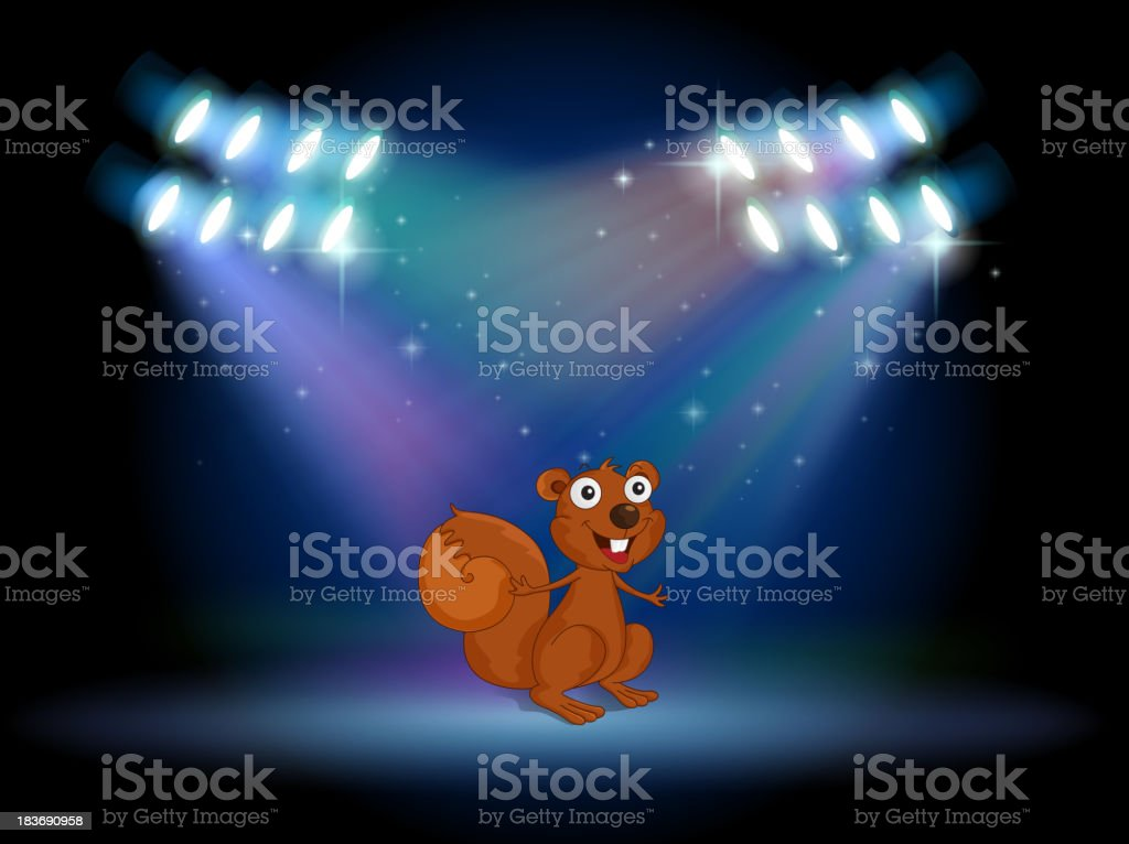 squirrel at the stage with spotlights royalty-free squirrel at the stage with spotlights stock vector art & more images of acting