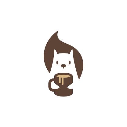 squirrel coffee mug vector icon mascot character illustration
