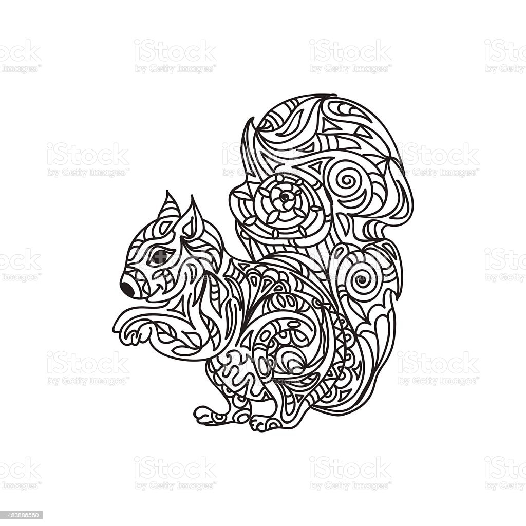 Squirrel Coloring Page Stock Vector Art & More Images of 2015 ...