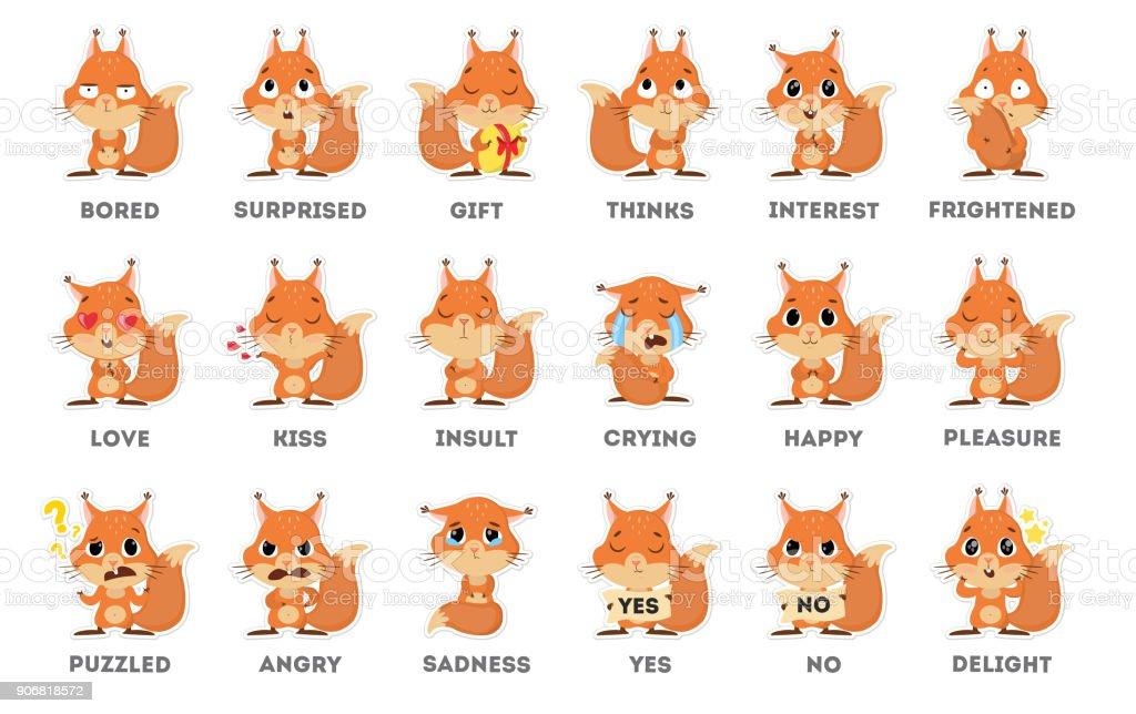 Autocollant d'emoji écureuil sur fond blanc. autocollant demoji écureuil sur fond blanc vecteurs libres de droits et plus d'images vectorielles de art libre de droits