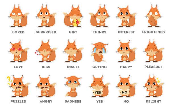 illustrations, cliparts, dessins animés et icônes de autocollant d'emoji écureuil sur fond blanc. - écureui