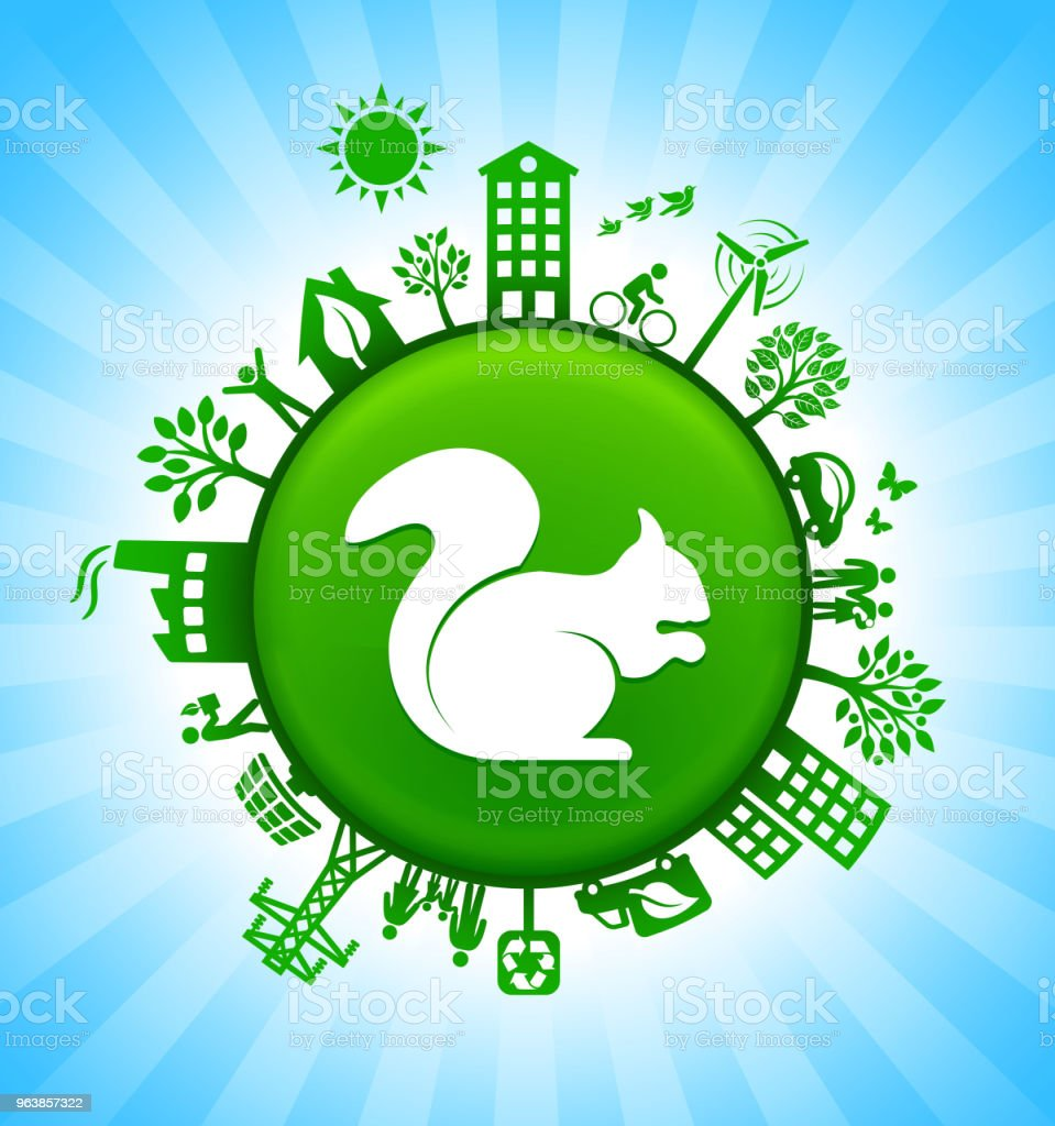 Squirrel Environment Green Button Background on Blue Sky - Royalty-free Alternative Energy stock vector