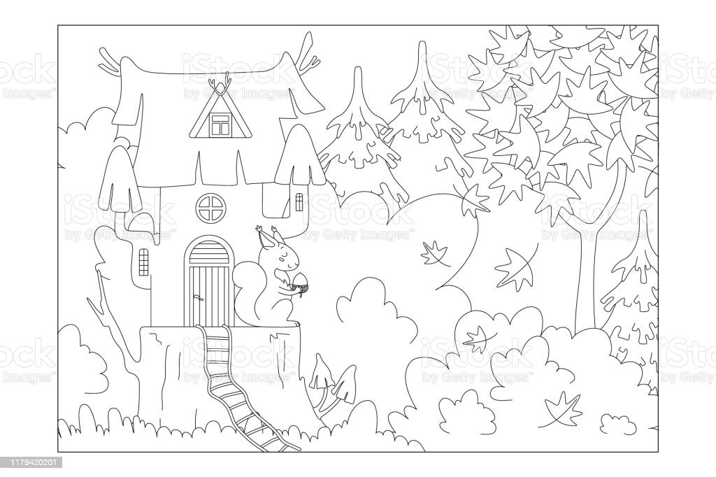 - Squirrel House On A Stump In The Woods Sheet For Childrens Coloring Books  Vector Stock Illustration - Download Image Now - IStock