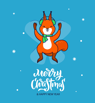 Squirrel in a green scarf making a snow angel. he traditional winter holiday design Merry Christmas.