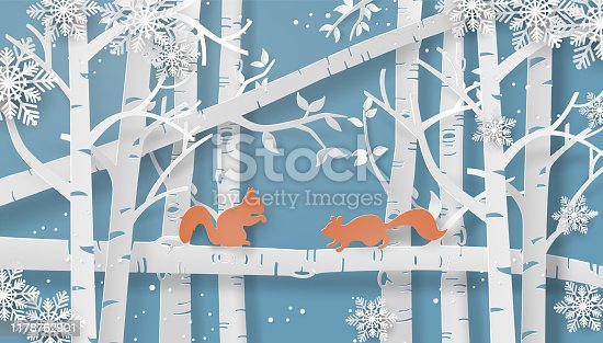 Illustration of winter season with the squirrel is climbing on the tree and snow is shining. Paper art style.