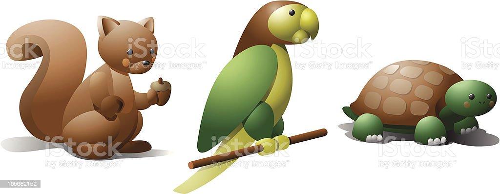 Esquilo, parrot e tartaruga - ilustração de arte em vetor