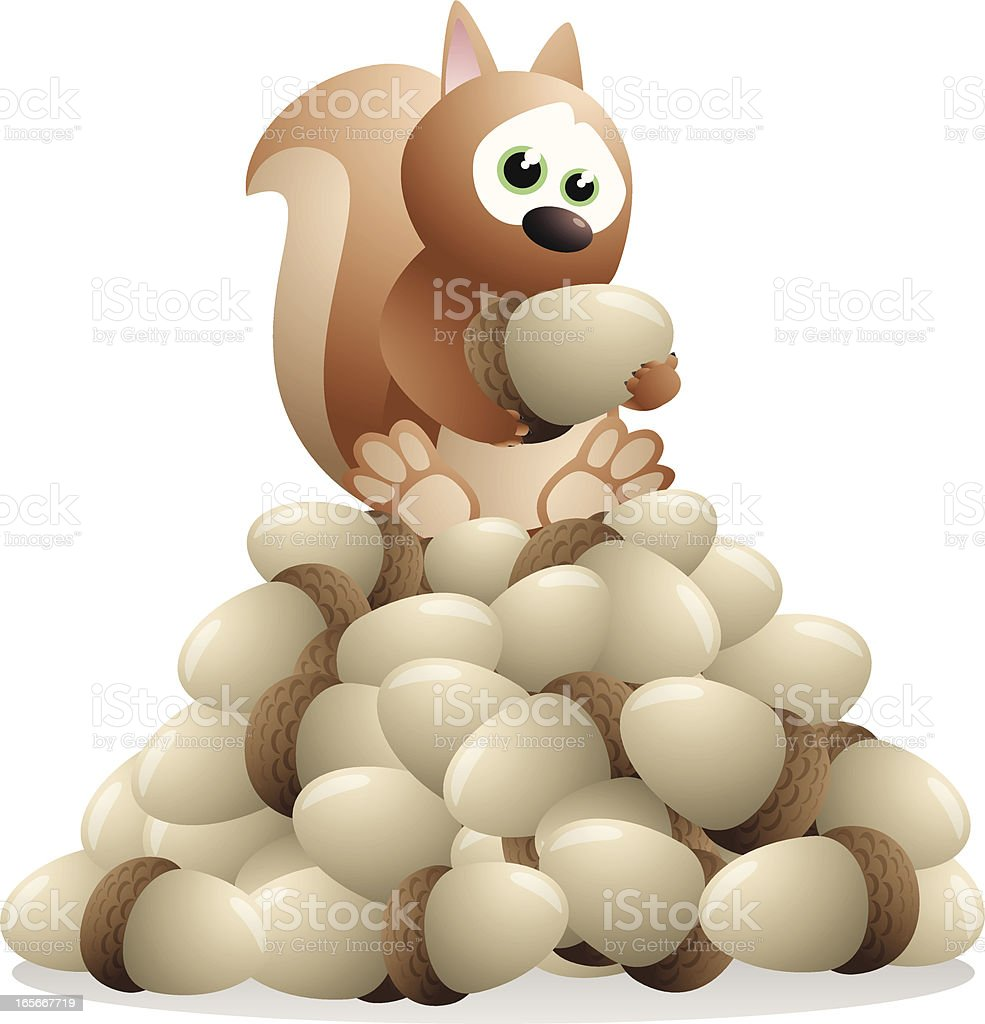 Squirrel sitting on a pile of nuts royalty-free stock vector art