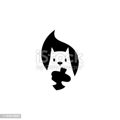 istock squirrel vector icon is holding nuts illustration in negative space style 1134919597