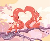 Two squirrels flirting on a branch. Their tails forming a heart shape. Concept for Love and Valentine's Day. Fully editable and all labeled in layers.