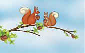 Squirrels sitting on a branch