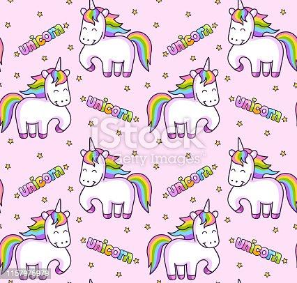 Sramless pink pattern with magic rainbow unicorns and stars.