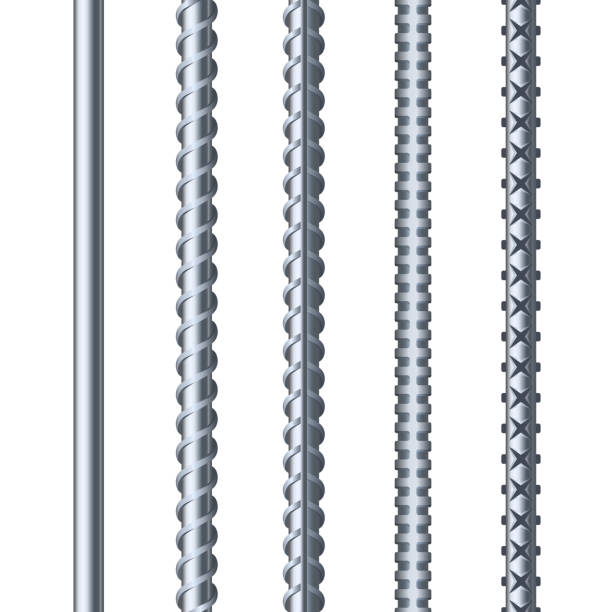Sreel Rebars Set on White Background. Metal Armature. Vector Sreel Rebars Set on White Background. Construction Metal Armature. Vector illustration rod stock illustrations