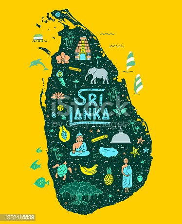 istock Sri Lanka cartoon map. Hand-drawn touristic map of the country with main attractions. 1222415539