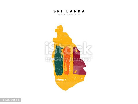 istock Sri Lanka detailed map with flag of country. Painted in watercolor paint colors in the national flag 1144333990